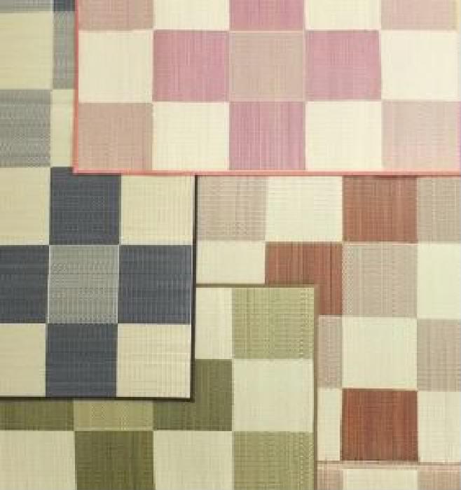 厚みが選べる3タイプ 純国産ブロック柄い草ラグ ウレタン6mm (幅×高さ 261×261cm)(カラー ピンク)