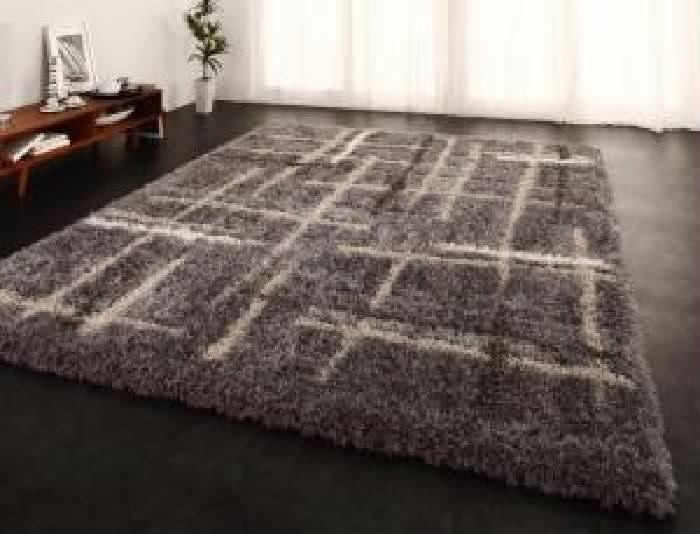 モダンデザインウィルトン織りボリュームシャギーラグ (幅×高さ 200×250cm)(カラー アイボリー) 白