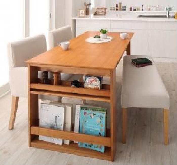 機能系テーブルダイニング 4点セット(テーブル+チェア (イス 椅子) 2脚+ベンチ1脚) 三段階伸縮式 シェルフ (整理 収納棚 キャビネット) 付きダイニング( 机幅 :W120-180)( イス色+ベンチ色 : ブラウン 茶2脚+ブラウン 茶 )