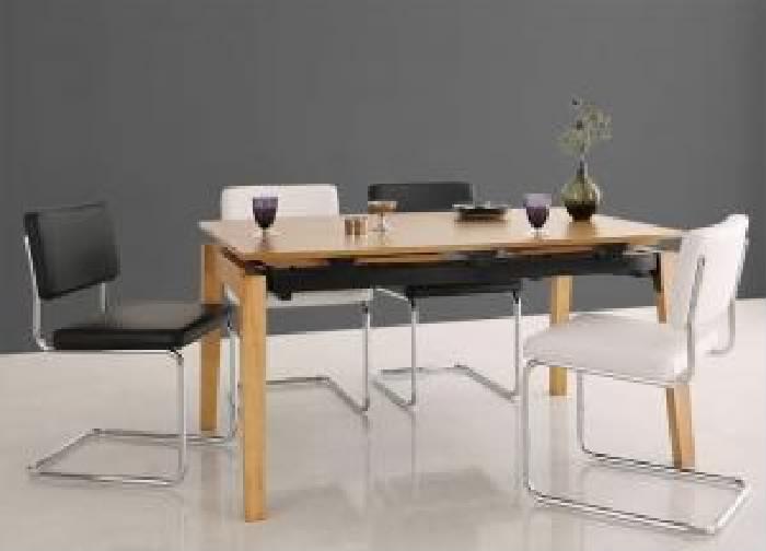 機能系テーブルダイニング 5点セット(テーブル+チェア (イス 椅子) 4脚) デザイナーズテイスト 北欧モダンダイニング( 机幅 :W140-240)( イス色 : ブラック 黒4脚 )