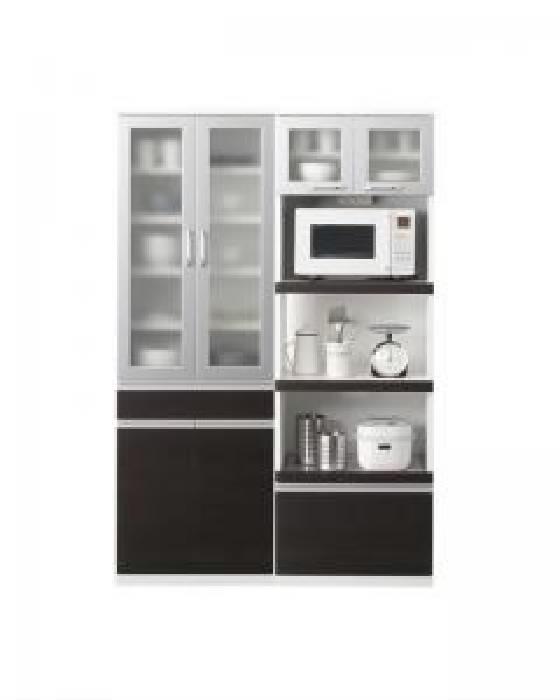 奥行41cmの薄型モダンデザインキッチン収納 食器棚+キッチンボードセット (幅 120)(高さ 180)(奥行 41cm)(カラー ホワイト)