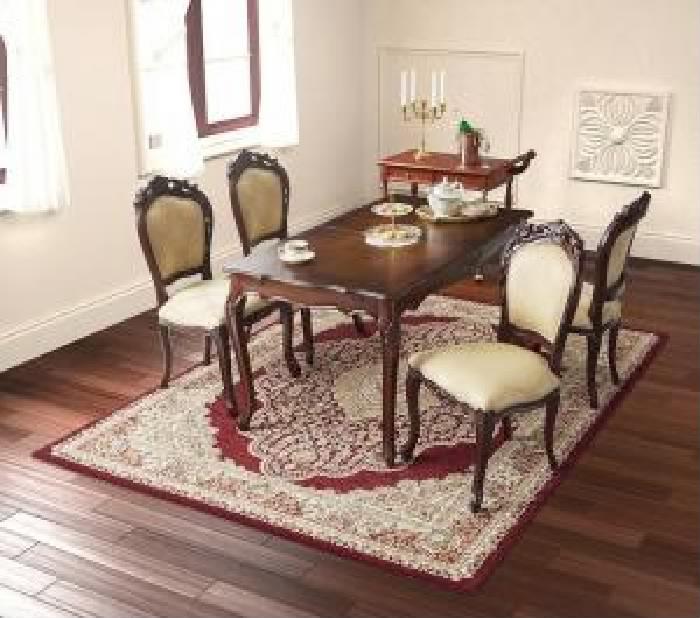 テイストファニチャー 5点セット(テーブル+チェア (イス 椅子) 4脚) エクステンション 伸長式 伸びる 可変式 延長 クラシックダイニング( 机幅 :W140-180)( 色 : ブラウン 茶 )( イス肘なし )