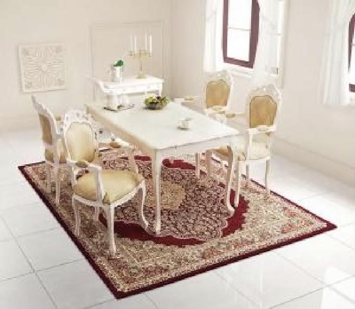 ダイニング用5点セット(テーブル+チェア4脚)W140-180ホワイト白