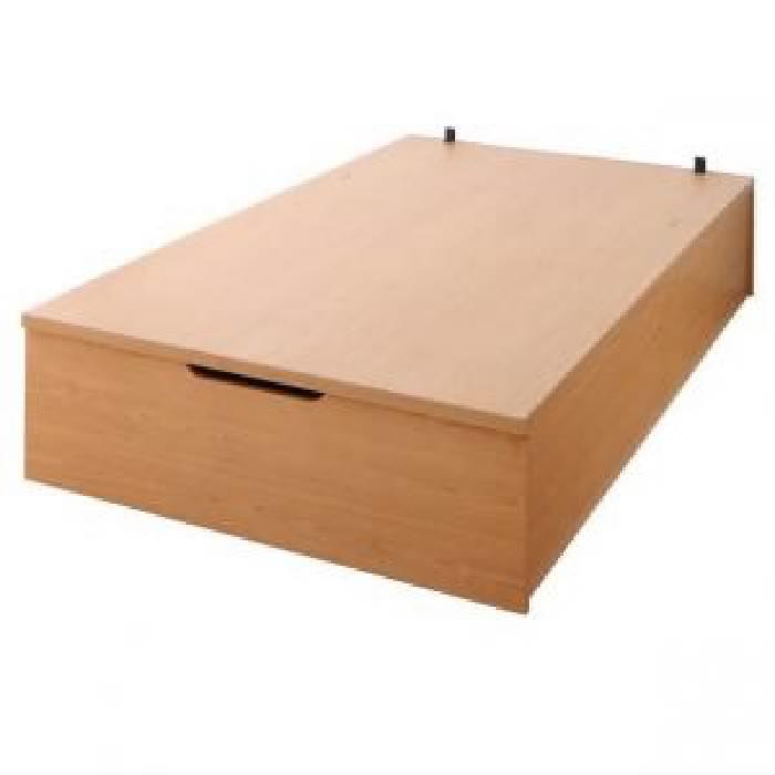 セミダブルベッド 大容量 大型 収納 整理 ベッド用ベッドフレームのみ 単品 シンプルデザインガス圧式大容量 跳ね上げ らくらく ベッド( 幅 :セミダブル)( 奥行 :レギュラー)( 深さ :深さグランド)( フレーム色 : ナチュラル )( お客様組立 縦開き )