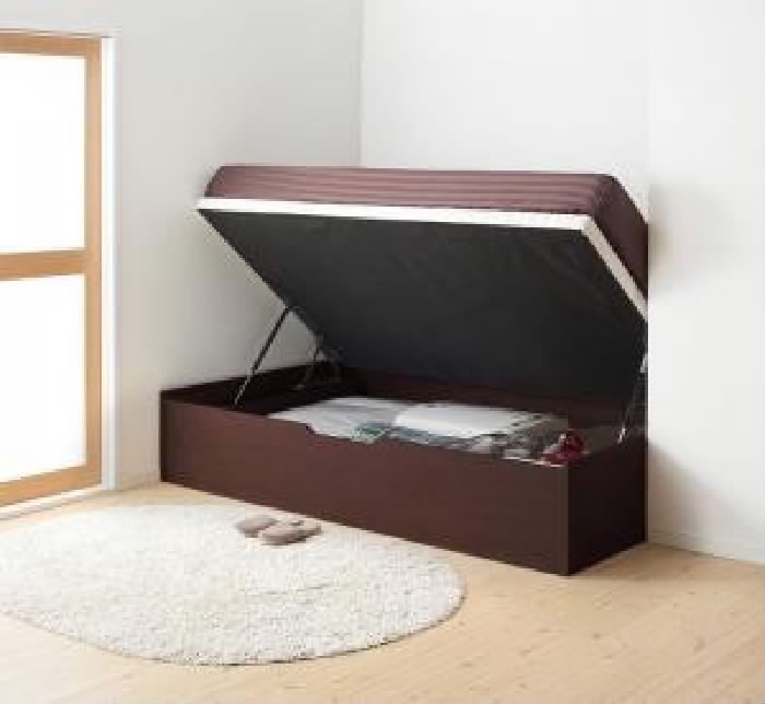 セミシングルベッド 茶 大容量 大型 収納 整理 ベッド 薄型スタンダードポケットコイルマットレス付き セット 通気性抜群_ガス圧式大容量 跳ね上げ らくらく ベッド( 幅 :セミシングル)( 奥行 :レギュラー)( 深さ :深さレギュラー)( フレーム色 : ダークブラウ