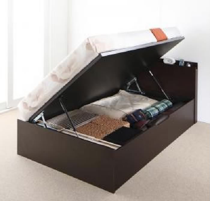 セミダブルベッド 大容量 大型 収納 整理 ベッド マルチラススーパースプリングマットレス付き セット 棚コンセント付 跳ね上げ らくらく ベッド( 幅 :セミダブル)( 奥行 :レギュラー)( 深さ :深さグランド)( フレーム色 : ナチュラル )( 組立設置付 横開き )