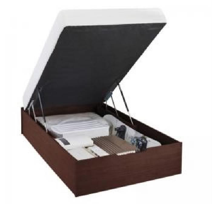 セミダブルベッド 茶 大容量 大型 収納 整理 ベッド ポケットコイルマットレス付き セット すのこ 蒸れにくく 通気性が良い 構造_ガス圧式大容量 跳ね上げ らくらく ベッド( 幅 :セミダブル)( 奥行 :レギュラー)( 深さ :深さラージ)( フレーム色 : ダークブラウ