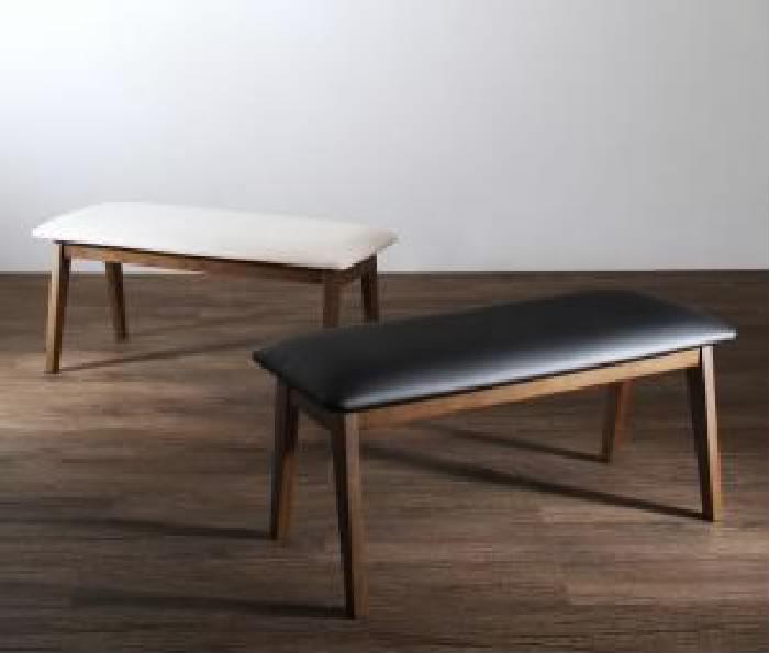 機能系テーブルダイニング用ベンチ単品 天然木 木製 ウォールナット材 ハイバック 高い背もたれ チェア (イス 椅子) ダイニング( ベンチ座面幅 :2P)( 座面色 : ブラック 黒 )