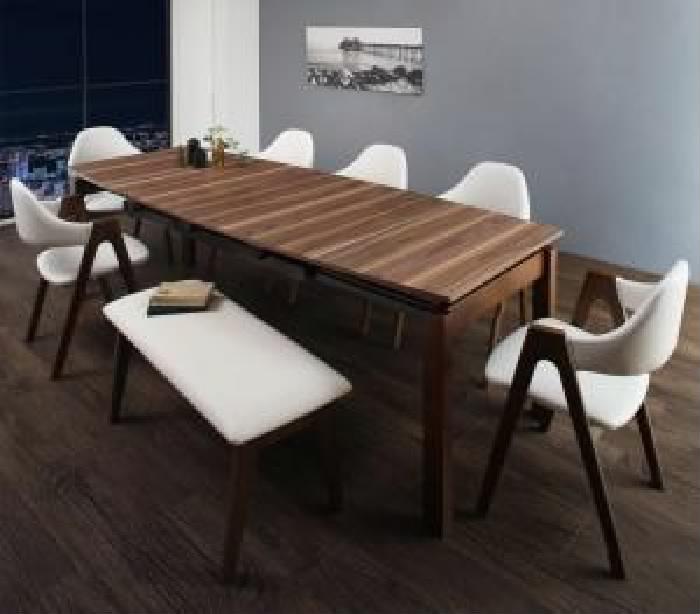 機能系テーブルダイニング 8点セット(テーブル+チェア (イス 椅子) 6脚+ベンチ1脚) 北欧テイスト 天然木 木製 ウォールナット材 伸縮ダイニング( 机幅 :W140-240)( イス色 : ホワイト 白6脚 )