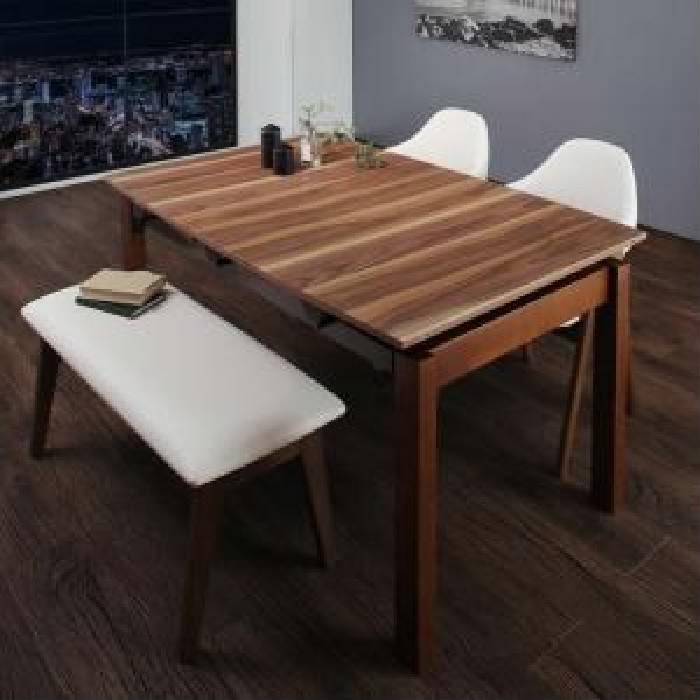 機能系テーブルダイニング 4点セット(テーブル+チェア (イス 椅子) 2脚+ベンチ1脚) 北欧テイスト 天然木 木製 ウォールナット材 伸縮ダイニング( 机幅 :W140-240)( イス色 : ホワイト 白2脚 )