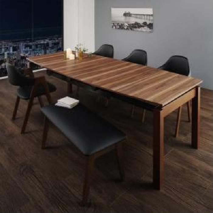 機能系テーブルダイニング 6点セット(テーブル+チェア (イス 椅子) 4脚+ベンチ1脚) 北欧テイスト 天然木 木製 ウォールナット材 伸縮ダイニング( 机幅 :W140-240)( イス色 : ブラック 黒4脚 )
