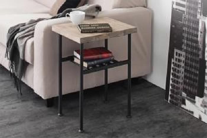 単品 杉古材ヴィンテージデザインリビングシリーズ 用 サイドテーブル (テーブル幅 W30)(テーブルカラー ヴィンテージナチュラル×ブラック) ブラック 黒
