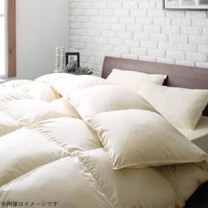 日本製 防カビ消臭 エクセルゴールドラベル洗えるフランス産ダックダウン90% 布団・布団カバーセット ベッドタイプ (寝具幅サイズ クイーン10点セット)(メインカラー アイボリー) アイボリー 乳白色