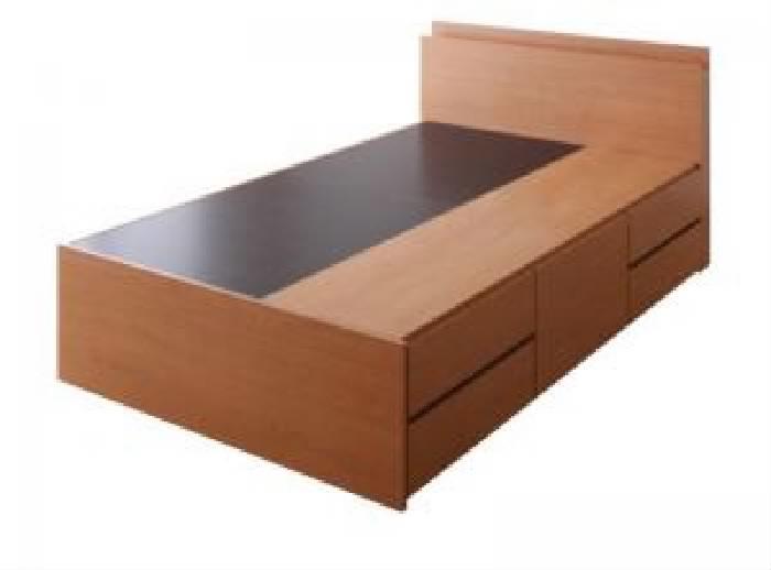 セミダブルベッド 大容量 大型 収納 ベッド用ベッドフレームのみ 単品 棚・コンセント付き_大容量 チェスト (整理 タンス 収納 キャビネット) ベッド( 幅 :セミダブル)( 奥行 :レギュラー)( フレーム色 : ナチュラル )