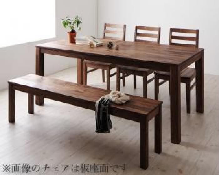 ダイニング 5点セット(テーブル+チェア (イス 椅子) 3脚+ベンチ1脚) 総無垢材ワイドダイニング( 机幅 :W180)( 机色 : ウォールナットブラウン 茶 )( 座面色 : ホワイト 白 )( ウォールナット PVC座 )