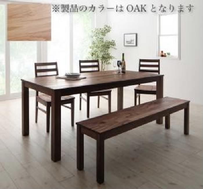 ダイニング 5点セット(テーブル+チェア (イス 椅子) 3脚+ベンチ1脚) 総無垢材ワイドダイニング( 机幅 :W180)( 机色 : オークナチュラル )( オーク 板座 )