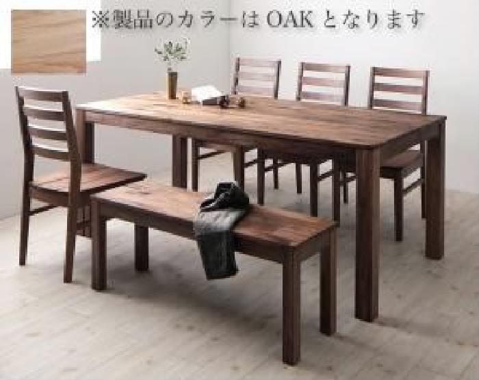 ダイニング 6点セット(テーブル+チェア (イス 椅子) 4脚+ベンチ1脚) 総無垢材ワイドダイニング( 机幅 :W180)( 机色 : オークナチュラル )( オーク 板座 )