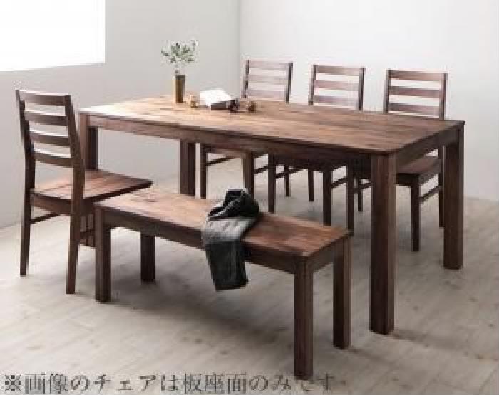 ダイニング 6点セット(テーブル+チェア (イス 椅子) 4脚+ベンチ1脚) 総無垢材ワイドダイニング( 机幅 :W180)( 机色 : ウォールナットブラウン 茶 )( 座面色 : ブラック 黒 )( ウォールナット 板座×PVC座 )