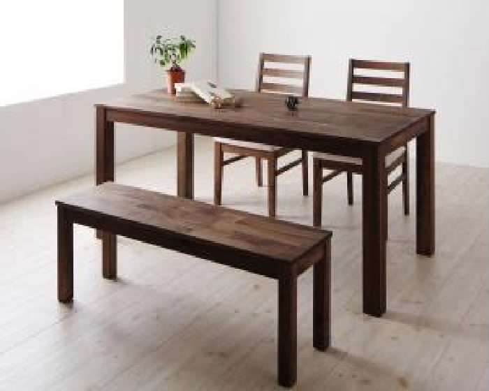 ダイニング 4点セット(テーブル+チェア (イス 椅子) 2脚+ベンチ1脚) 総無垢材ワイドダイニング( 机幅 :W160)( 机色 : ウォールナットブラウン 茶 )( 座面色 : ブラック 黒 )( ウォールナット PVC座 )