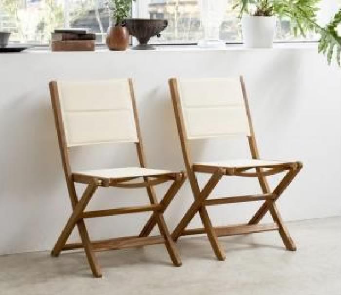 ガーデンファニチャーダイニング用ガーデンチェア (イス 椅子) 2脚組単品 アカシア天然木 木製 折りたたみ式ナチュラルガーデンファニチャー( 座面色 : ホワイト 白 )( 肘なし )