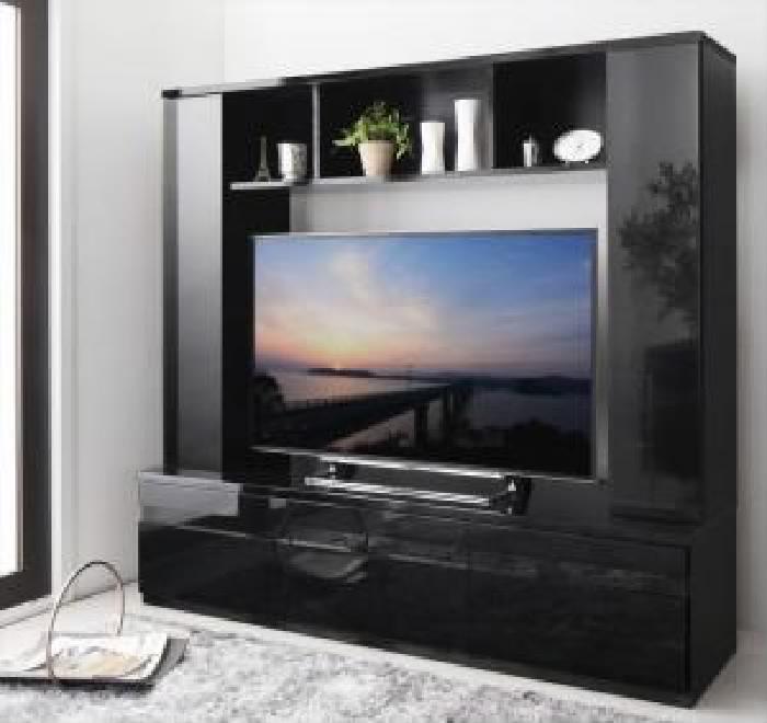 鏡面仕上げハイタイプTVボード テレビボード (幅 169cm)(高さ 156cm)(奥行 45cm)(メインカラー グロスブラック) 黒