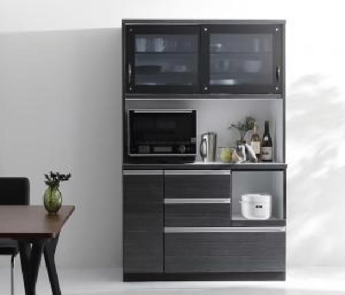 モイス付きモダンデザインダイニングボード キッチン収納 キッチンボード (幅 105)(高さ 188)(奥行 44)(メインカラー ブラック) 黒