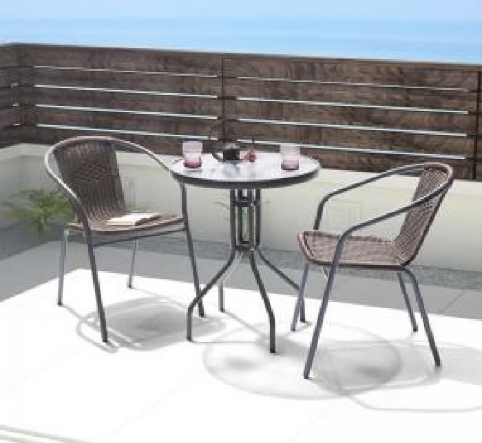 ラタン調リゾートガーデンファニチャー 3点セット(テーブル+チェア2脚) (テーブル幅 W60)(テーブルカラー クリア) イス 椅子