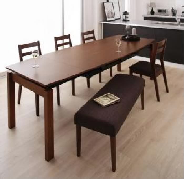 機能系テーブルダイニング 6点セット(テーブル+チェア (イス 椅子) 4脚+ベンチ1脚) 天然木 木製 ウォールナット材 デザイン伸縮ダイニング( 机幅 :W140-240)( 机色 : ウォールナットBR )( イス色×ベンチ色 : ブラウン 茶×ブラウン 茶 )