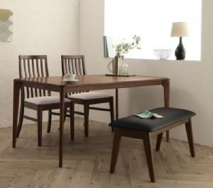 ダイニング 4点セット(テーブル+チェア (イス 椅子) 2脚+ベンチ1脚) 天然木 木製 ウォールナット無垢材 ハイバック 高い背もたれ チェア ダイニング( 机幅 :W150)( イス色×ベンチ色 : ブラック 黒×ブラック 黒 )