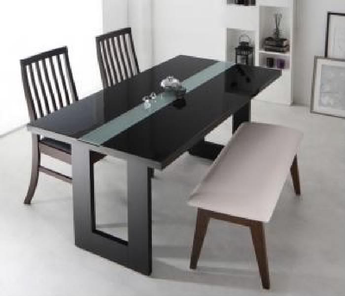 ダイニング 4点セット(テーブル+チェア (イス 椅子) 2脚+ベンチ1脚) シンプルモダンテイスト ハイバック 高い背もたれ チェア ダイニング( 机幅 :W150)( イス色×ベンチ色 : ブラック 黒×ブラック 黒 )