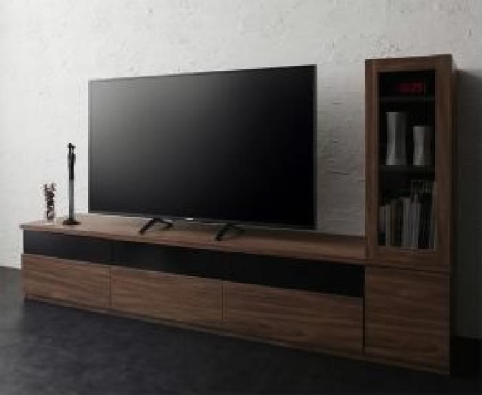キャビネットが選べるテレビボードシリーズ 2点セット(テレビボード+キャビネット) ガラス扉 (幅 180cm)(高さ 40cm)(奥行 45cm)(カラー ウォルナットブラウン) ブラウン 茶