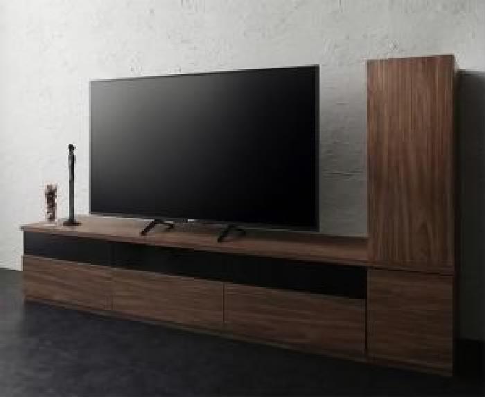 キャビネットが選べるテレビボードシリーズ 2点セット(テレビボード+キャビネット) 木扉 (幅 180cm)(高さ 40cm)(奥行 45cm)(カラー ウォルナットブラウン) ブラウン 茶