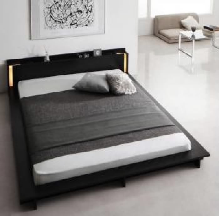 クイーンサイズベッド(Q×1)棚付マットレス付きホワイト白