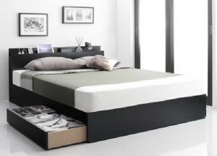 セミダブルベッド 白 収納 整理 付きベッド マルチラススーパースプリングマットレス付き セット スリム棚・4口コンセント付き収納 ベッド( 幅 :セミダブル)( 奥行 :レギュラー)( フレーム色 : ホワイト 白 )