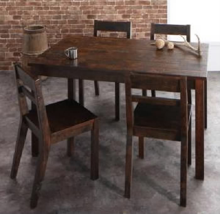 ダイニング 5点セット(テーブル+チェア (イス 椅子) 4脚) 古木風ヴィンテージ レトロ アンティーク ダメージ加工ダイニング( 机幅 :W135)( 机色 : ヴィンテージブラウン 茶 )
