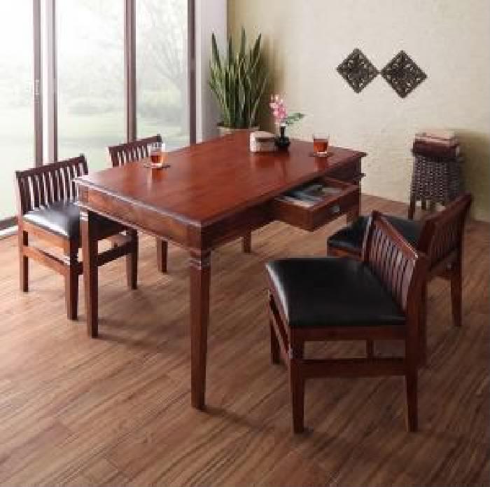 テイストファニチャー 5点セット(テーブル+チェア (イス 椅子) 4脚) 天然木 木製 マホガニー材アンティーク レトロ ヴィンテージ 調アジアンダイニングシリーズ( 机幅 :W130)( 机色 : ブラウン 茶 )