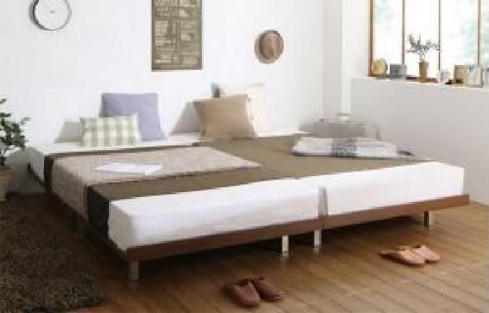 クイーンサイズベッド(Q×1)フレーム幅160マットレス付きウォルナットブラウン茶