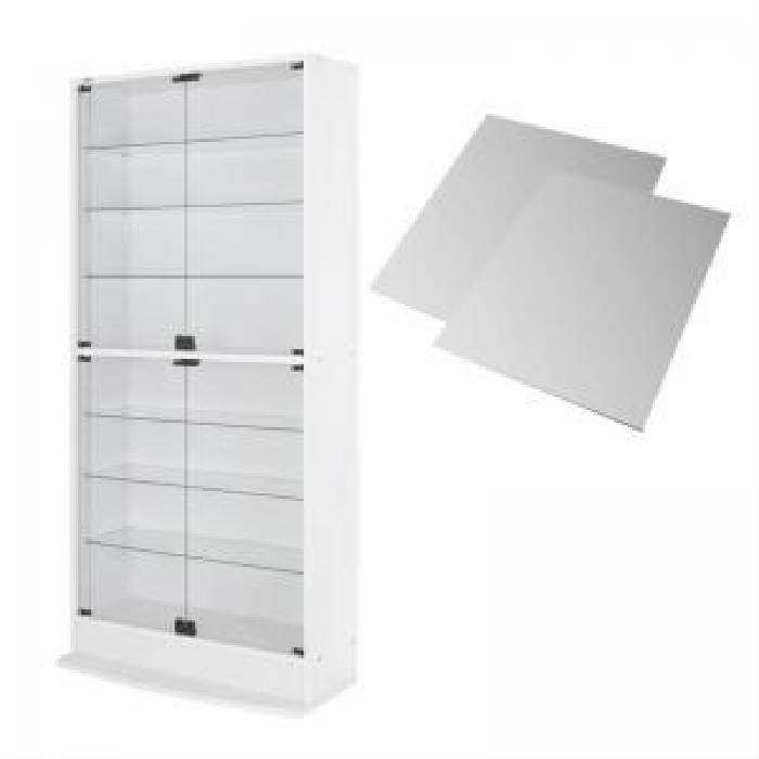 単品 LED付きコレクションラック ワイド 用 本体 両開きタイプ 背面ミラー2枚セット (幅 83cm)(高さ 18cm)(奥行 29cm)(メインカラー ホワイト) 白