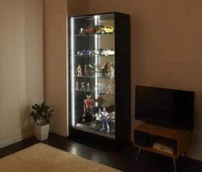 単品 LED付きコレクションラック ワイド 用 本体 引き戸タイプ (幅 83cm)(高さ 180cm)(奥行 29cm)(メインカラー ブラック) ブラック 黒