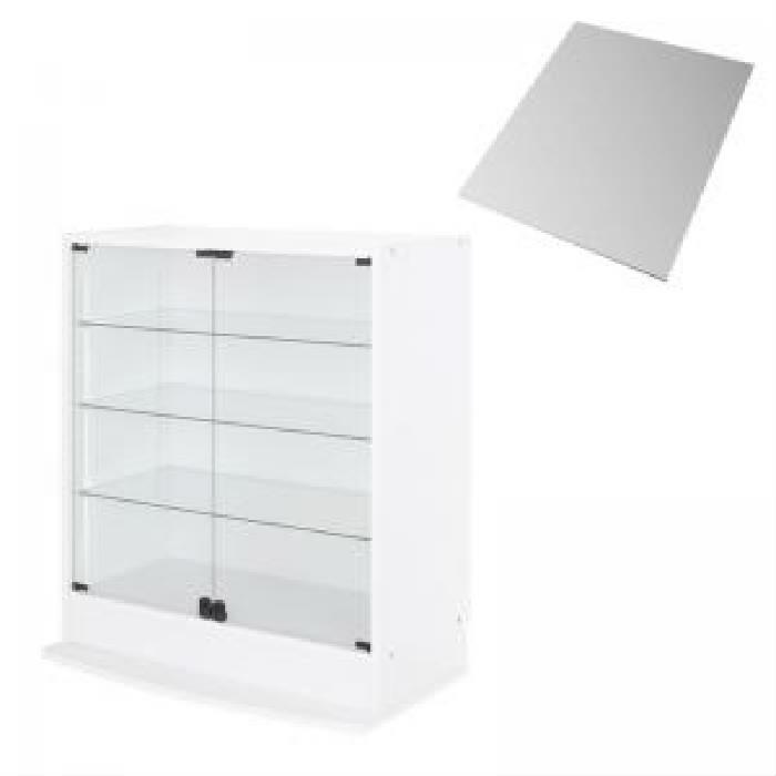 壁面収納 整理 用本体単品 LED付きコレクションラック ワイド( 収納幅 :83cm)( 収納高さ :96cm)( 収納奥行 :39cm)( メイン色 : ホワイト 白 )( 両開きタイプ 背面ミラー1枚セット )