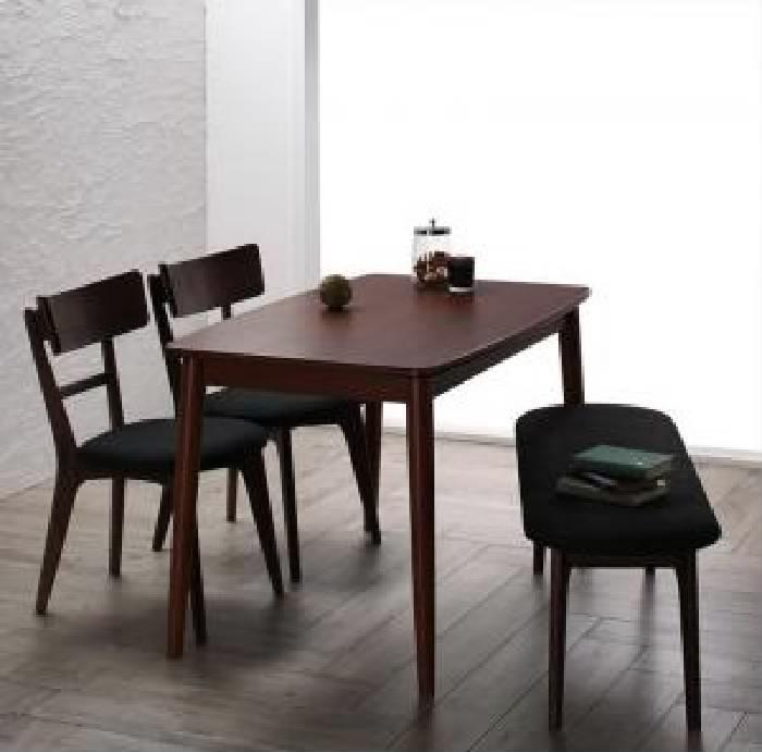 ダイニング用4点セット(テーブル+チェア2脚+ベンチ1脚)W115ブラウン茶
