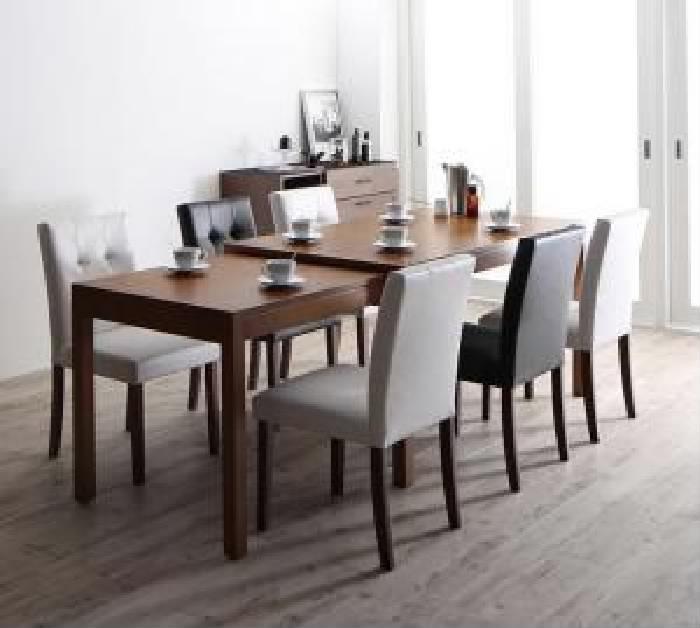 機能系テーブルダイニング 7点セット(テーブル+チェア (イス 椅子) 6脚) モダンデザイン スライド伸縮テーブル ダイニング( 机幅 :W135-235)( 机色 : ブラウン 茶 )( イス色 : ブラック 黒 )