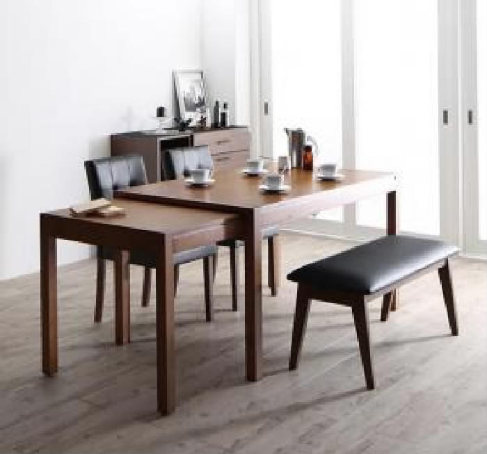ダイニング用4点セット(テーブル+チェア2脚+ベンチ1脚)W135-235ブラウン茶