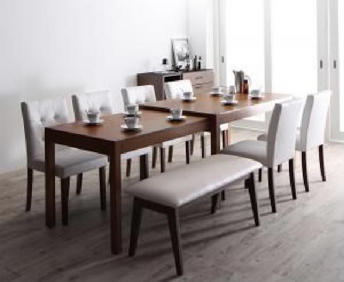 機能系テーブルダイニング 8点セット(テーブル+チェア (イス 椅子) 6脚+ベンチ1脚) モダンデザイン スライド伸縮テーブル ダイニング( 机幅 :W135-235)( 机色 : ブラウン 茶 )( イス色 : ホワイト 白×ホワイト 白 )