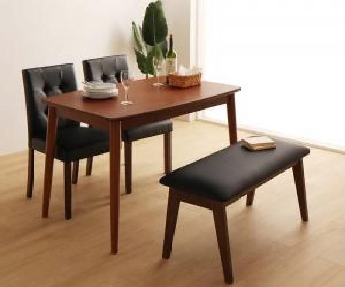ダイニング 4点セット(テーブル+チェア (イス 椅子) 2脚+ベンチ1脚) さっと拭ける PVCレザーダイニング( 机幅 :W115)( 机色 : ブラウン 茶 )( イス色 : ホワイト 白×ホワイト 白 )