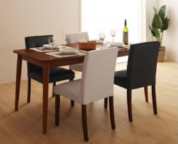 ダイニングセット テーブル チェア さっと拭ける 5☆好評 PVCレザーダイニング ブラウン ホワイト ダイニング 5点セット テーブル+チェア :W150 イス 机色 イス色 椅子 机幅 白 2020A/W新作送料無料 4脚 : 茶