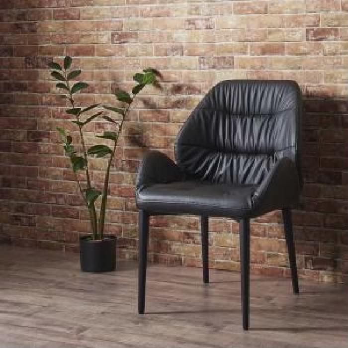 ダイニング用ダイニングチェア ダイニング用チェア イス 食卓 椅子 2脚組単品 天然木 木製 ウォールナット材ヴィンテージ レトロ アンティーク デザインダイニング( 座面色 : ブラック 黒 )