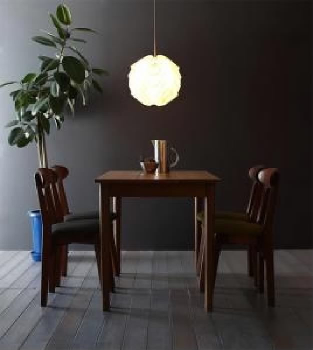 ダイニング 5点セット(テーブル+チェア (イス 椅子) 4脚) カフェ ヴィンテージ レトロ アンティーク ダイニング ブラウン W115( 机幅 :W115)( イス色 : ダークグレー2脚+グリーン 緑2脚 )( ブラウン 茶 W115 )