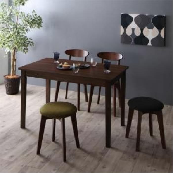 ダイニング 5点セット(テーブル+チェア (イス 椅子) 2脚+スツール バーチェア カウンターチェア 2脚) 北欧テイスト ダイニング ブラウン W115( 机幅 :W115)( イス色 : ダークグレー2脚 )( イス色 : ダークグレー1脚+グリーン 緑1脚 )( ブラウン 茶 W115 )