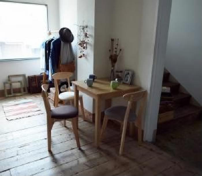 ダイニング 4点セット(テーブル+チェア (イス 椅子) 3脚) W68cm スクエアサイズのコンパクトダイニングテーブル ダイニング用テーブル 食卓テーブル 机 ( 机幅 :W68)( イス色 : ライトグレー2脚+アイボリー 乳白色1脚 )( ナチュラル )